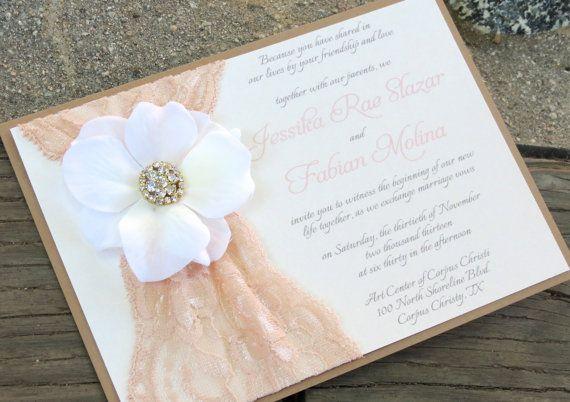 Blush And Ivory Wedding Invitations: GEORGIA: Blush Lace Wedding Invitation, Shabby Chic Flower