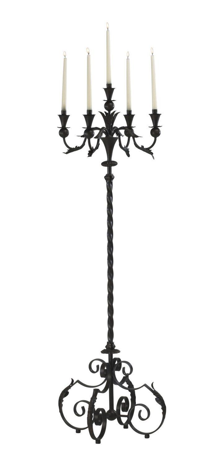Large Acanthus Multi 5 Taper Wrought Iron Floor Candelabra Tuscan French Gothic  Candle Holder Stand Rustic 60 Tall: for the altar