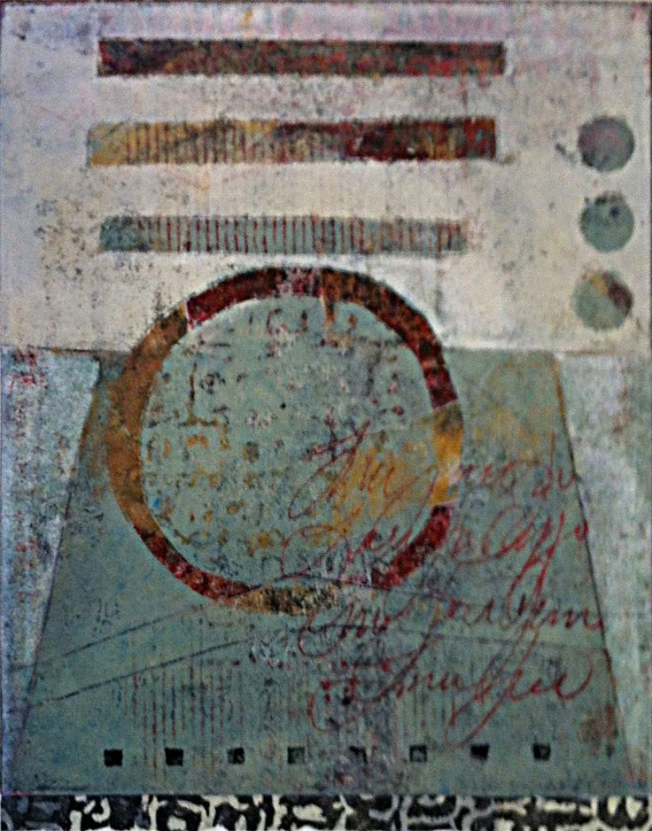 "One on Another, monotype by Anne Moore, 11.5""x9"""