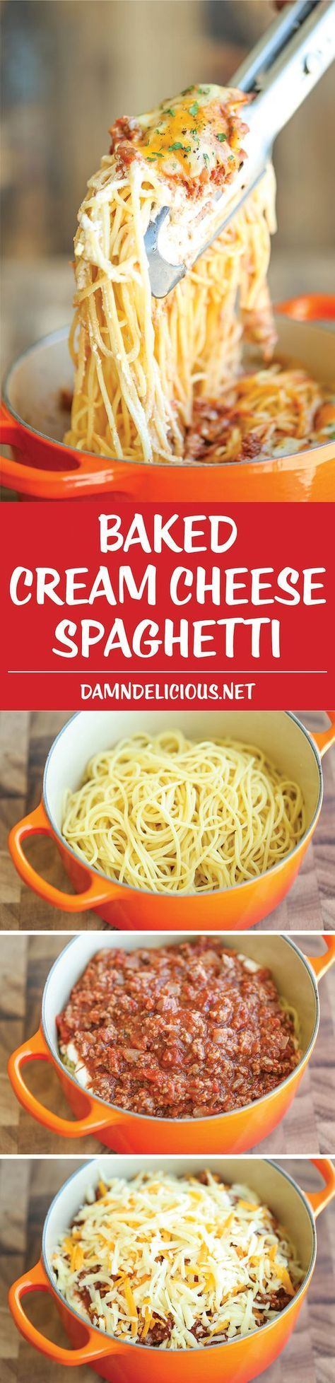 Baked Cream Cheese Spaghetti - A baked spaghetti casserole that's amazingly cheesy and creamy. It's comfort food at its best, and EASIEST!
