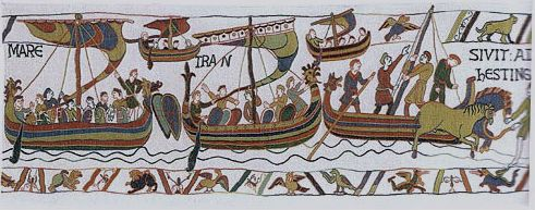 Normans arrive at Hastings and disembark. One of many scenes from The Bayeux Tapestry woven today.