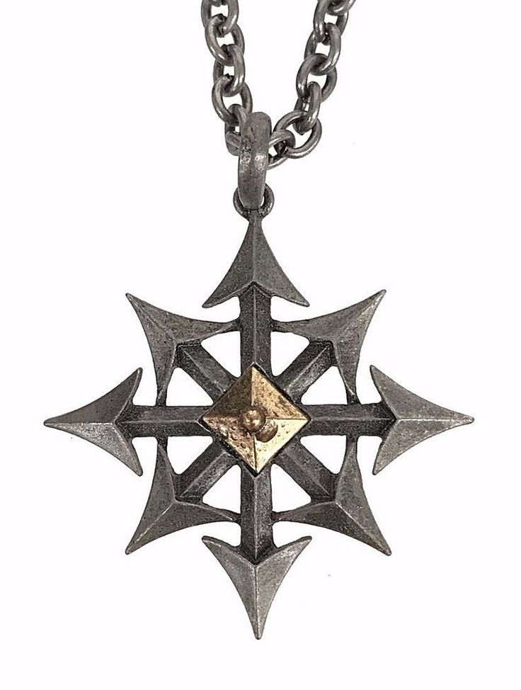Chaos Star Pendant Necklace Gothic Eight Arrows Punk Occult Doom Metal Grunge #Clover #Pendant