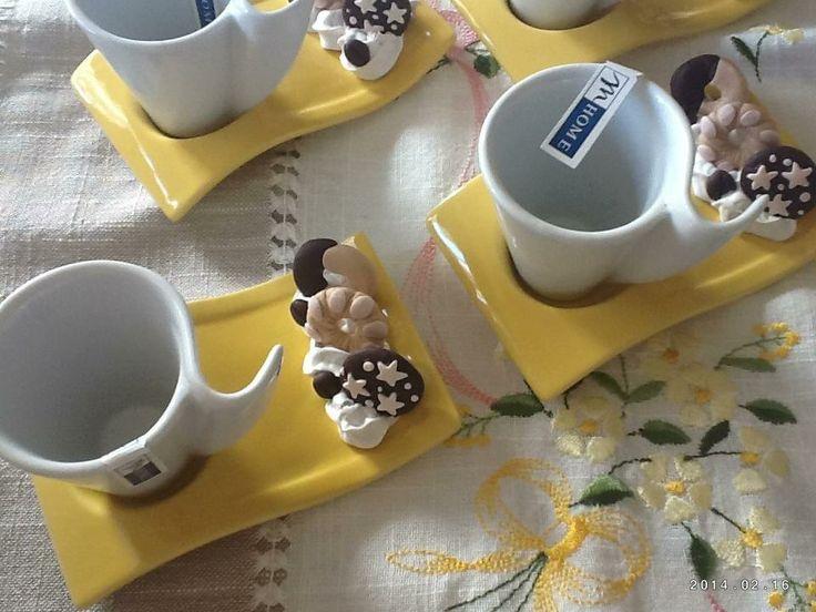 tazzine vari colori con biscottini in fimo