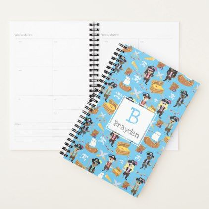 Pirate Treasure Hunt Kids Personalized Pattern Planner - girl gifts special unique diy gift idea