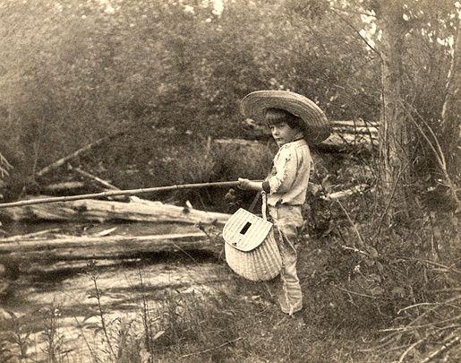 Ernest Hemingway fishing in Horton's Creek, near Walloon Lake, Michigan, July 1904.