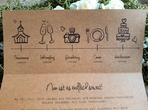 HOCHZEITSEINLADUNG VINTAGE Boho Invitation to Wedding kraft Paper JENNY W