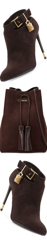 TOM FORD Suede Ankle-Strap Bootie, Dark Brownand Suede Double-Tassel Medium Bucket Bag, Dark Brown