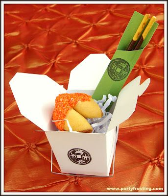 Thank you gifts -- takeout boxes filled with fortune cookies and chocolate dipped cookie sticks in chopstick sleeves