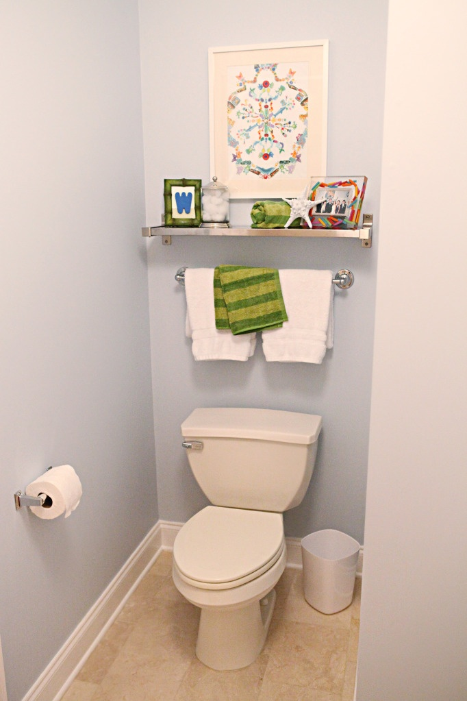Add shelf towel rack above toilet in both bathrooms for for Bathroom over the toilet shelf