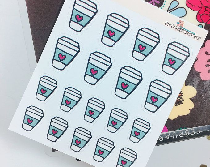 hand drawn- coffee cup planner stickers