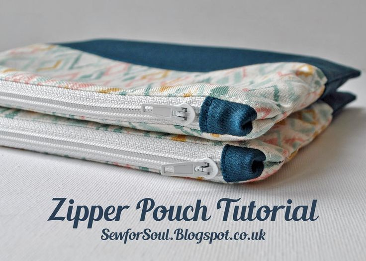 Zipper Pouch with Matching End Tabs and Contrast Panel   Make a handy pouch that can double as a mini makeup bag with this sewing tutorial!