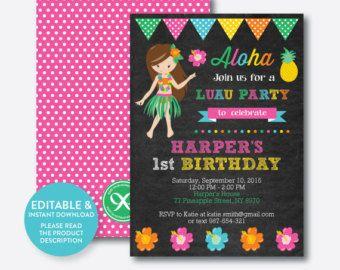 Invitación de cumpleaños de Luau. Fiesta hawaiana. Pizarra.