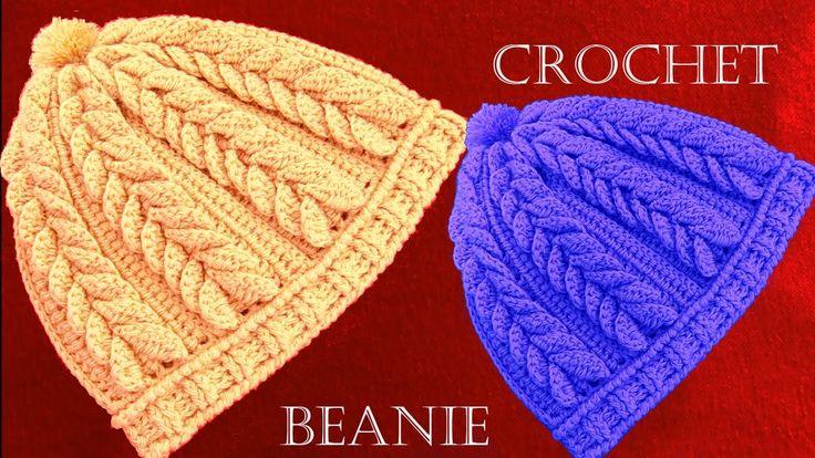 Como tejer a Crochet o Ganchillo gorro boina en punto de hojas dobles en...