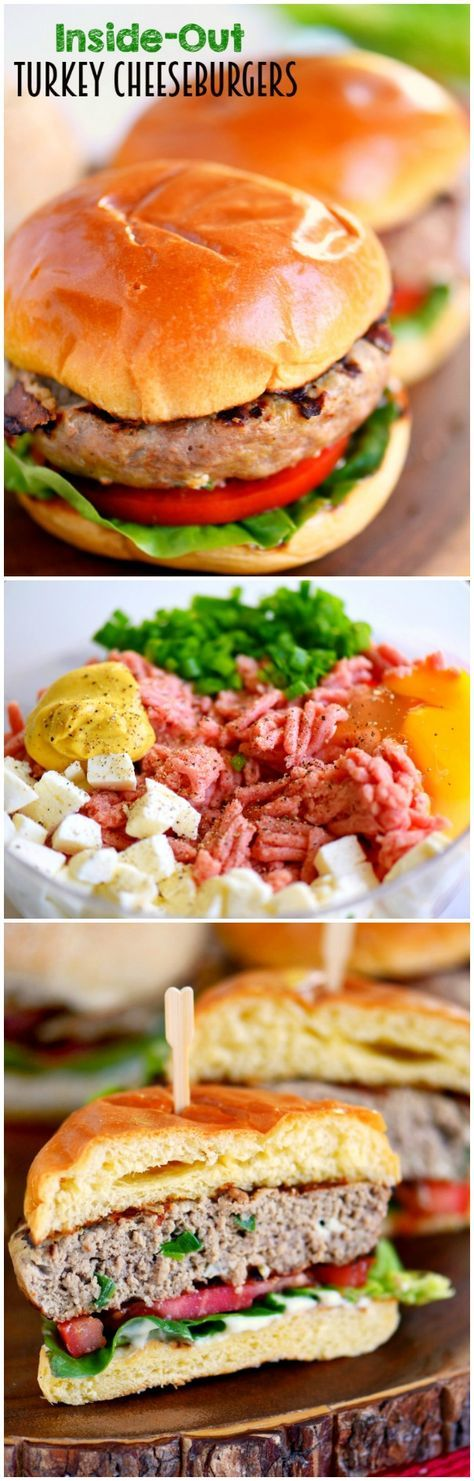 Fire up that grill and throw on these Inside Out Turkey Cheeseburgers! Loaded with flavor and filled with fresh mozzarella cheese, green onions, and Dijon mustard - these easy burgers are going to light up your 4th of July celebration! /search/?q=%23ad&rs=hashtag
