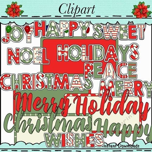 Joyful Christmas Greetings Word Art by Debra Miller Joyful Christmas Greetings Word Art Commercial or personal use clip art collection…