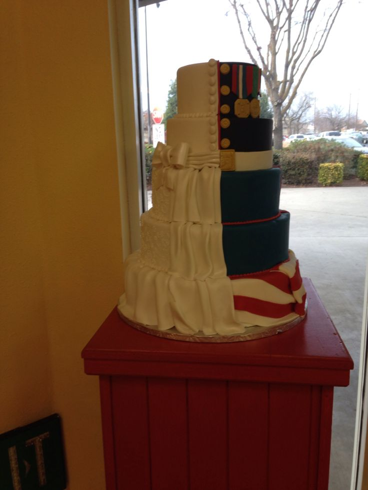 Half wedding cake  half marine dress uniform