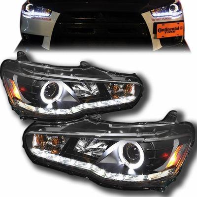 2008-2015 Mitsubishi Lancer Evo X Angel Eye Halo & LED DRL Projector Headlights - Black