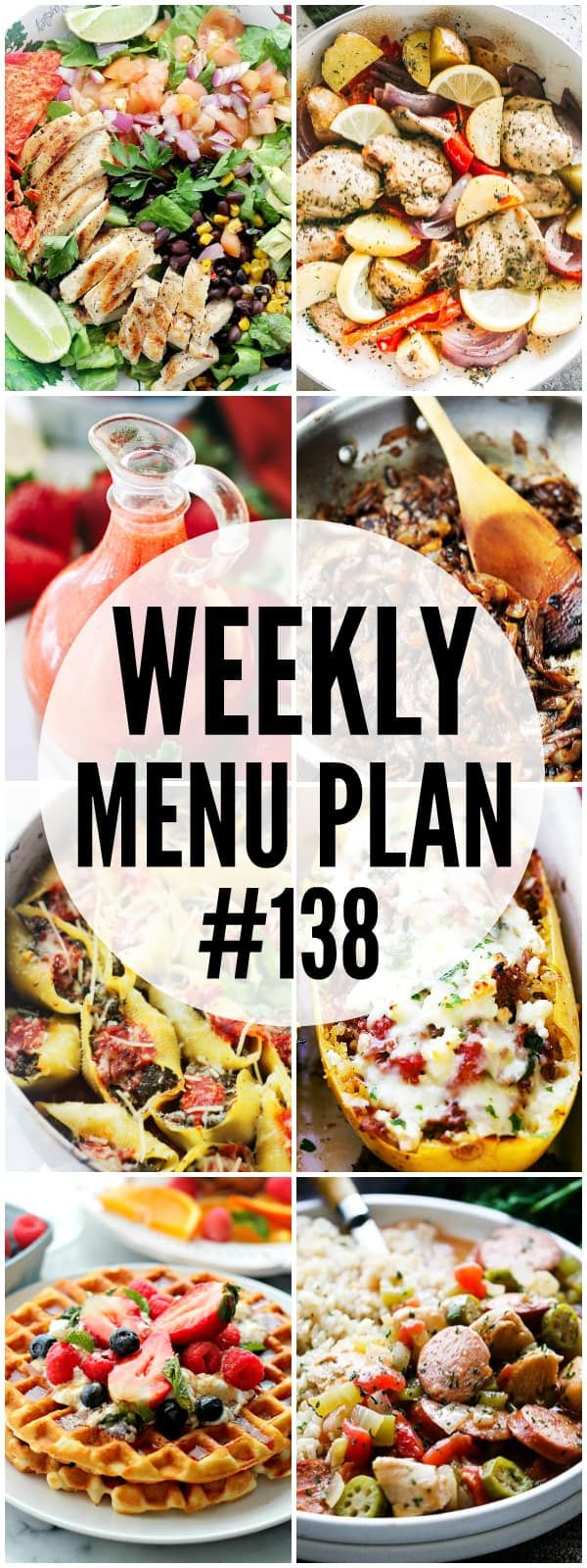 WEEKLY MENU PLAN (#138) – A delicious collection of dinner, side dish and dessert recipes to help you plan your weekly menu and make life easier for you!