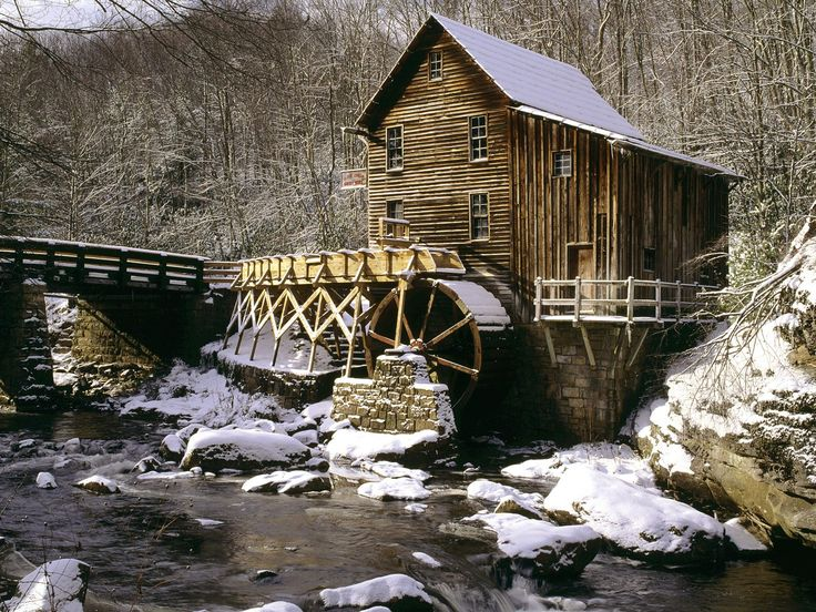 Glade Creek Grist Mill in Winter, Babcock State Park, West Virginia