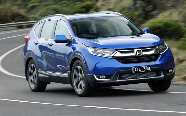 Télécharger fonds d'écran Honda CR-V, 2018 voitures, le mouvement, bleu CR-V, les croisements, Honda