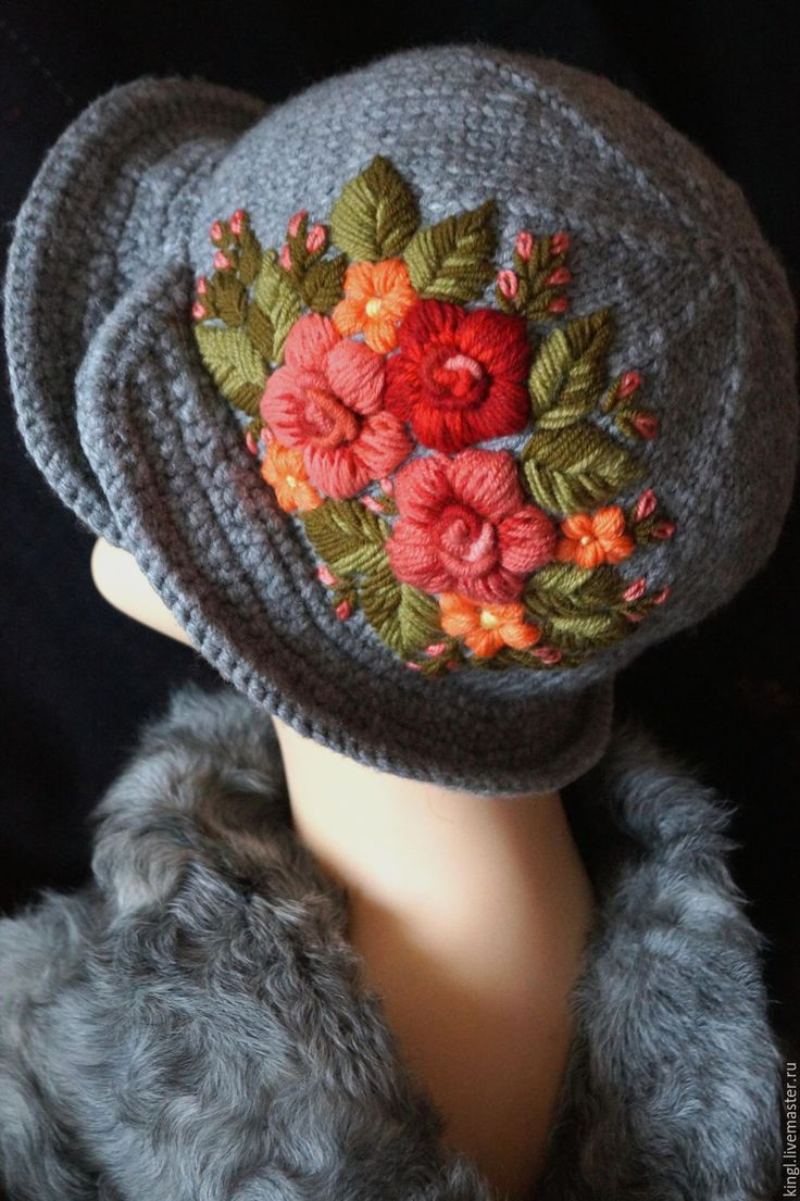 Вышитые картинки на шапку