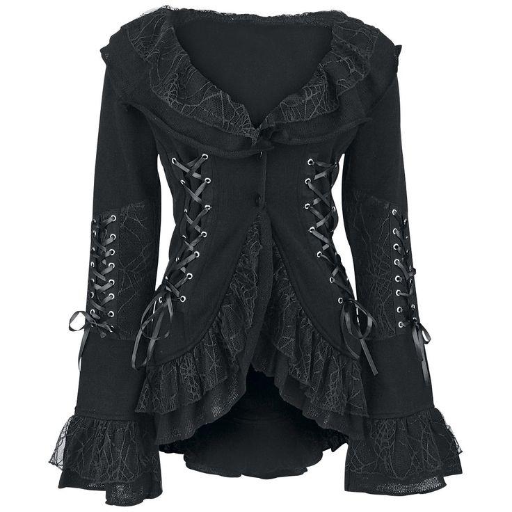 Wunderschöne Strickjacke, für Gothic Ladies!  Es kann auch bequem sein, wenn es düster is!  Da die Jacke hinten länger ist als vorne und sich mit zwei Knöpfen im Brustbereich verschließen lässt, fällt sie sehr schön und leicht. Die ...