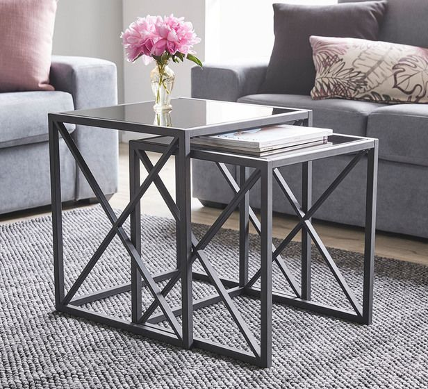 Crossway Nested Tables Tempered Glass Table Top Living Table Living Room Coffee Table #nesting #table #living #room