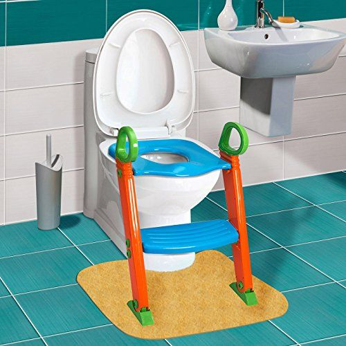 GPCT [Portable] [3-In-1] Kids Toddlers Potty Training Seat W/ Step Stool. Sturdy, Comfortable, Safe, Built In Non-Slip Steps W/ Anti-Slip Pads. Excellent Potty Seat Step Trainer For Boys/Girls/Baby  EXTREMELY COMFORTABLE W/ ANTI SLIP PADS - Turns adult-size toilets into cute kids-friendly ones that make kids feel like to use. Contoured seat offers comfortable and safe seating with anti-slip pads beneath.  ADJUSTABLE STEPS W/ BUILT-IN SPLASH - Built-in splash guard helps keep seat clean...