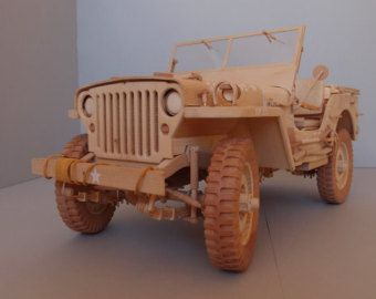 WILLYS MB JEEP wood model-Modell aus Holz Scale 1/12