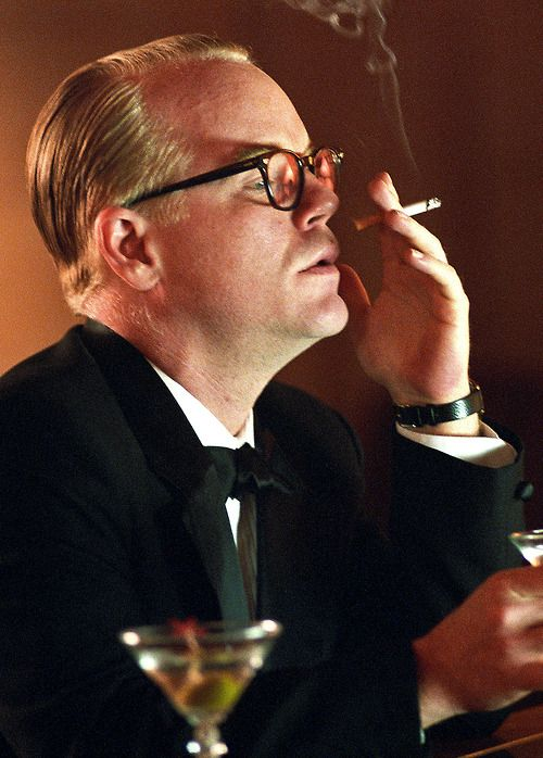 Truman Capote by Philip Seymour Hoffman, one of my favorite of favorites. Damn what an actor.