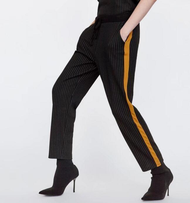 Spodnie W Krate Z Lampasami Paskami Cygaretki M 7435099069 Oficjalne Archiwum Allegro Striped Pant Work Pants Plaid Pants Women
