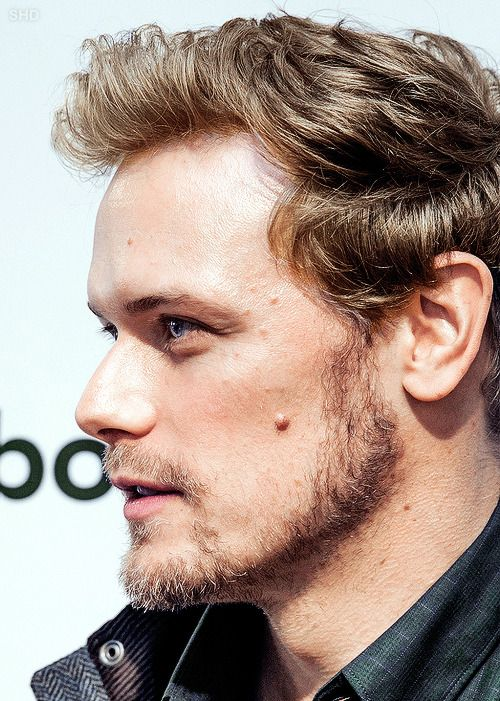 """foldingstars295: """"sam-heughan-daily: """"Sam Heughan attends the Barbour Store Events on September 29, 2017 in New York City """" Dreamy  """" His hair, I just love it short and blonde."""