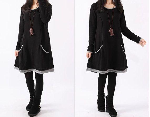 women cotton Sweater dress knitwear sweater  arge by cottondress23