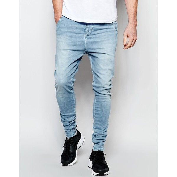SikSilk Drop Crotch Skinny Jeans (930 MAD) ❤ liked on Polyvore featuring men's fashion, men's clothing, men's jeans, stonewash, mens skinny fit jeans, mens light wash jeans, mens skinny jeans, tall mens jeans and mens super skinny jeans