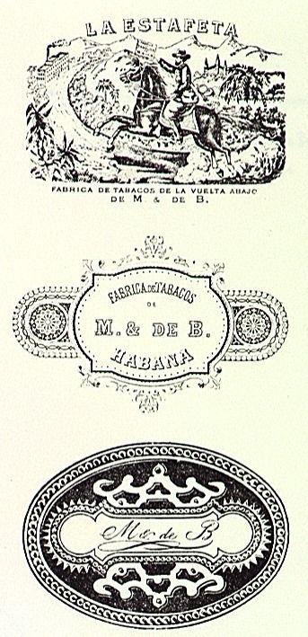 Handel en nijverheid/fabrieksmerken/Mignot & De Block merk 18370 - sigaren: La Estafeta: (1) bode te paard brengt brief naar fabriek van M & de B.; (2) tekst: Fabrica de Tabacos de M. & de B. Habana; (3) tekst M & de B 1904