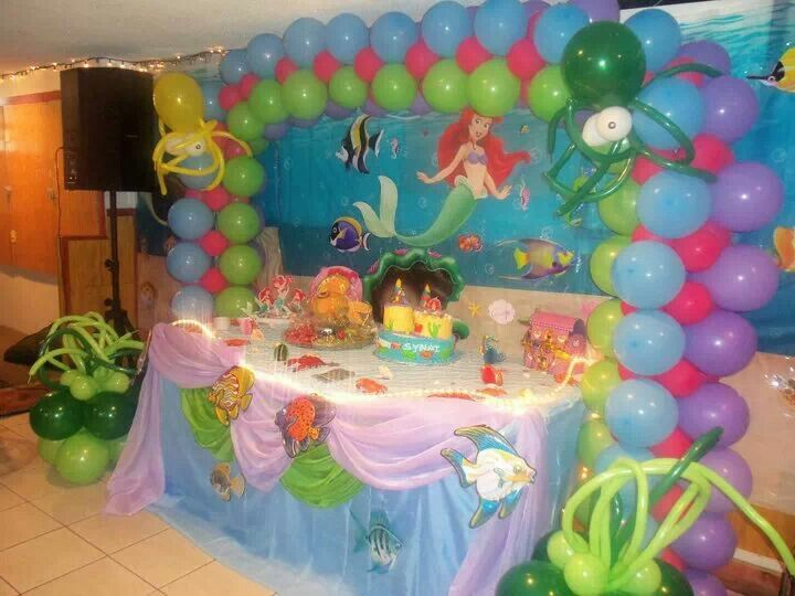 The 25 best little mermaid balloon decorations ideas on for Ariel birthday party decoration ideas