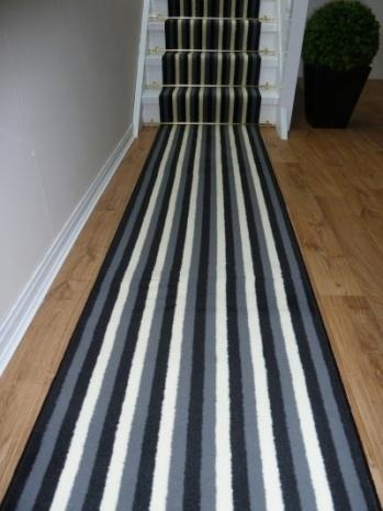 Broad 10 - Black/Grey - Stripes - Carpet Runners UK