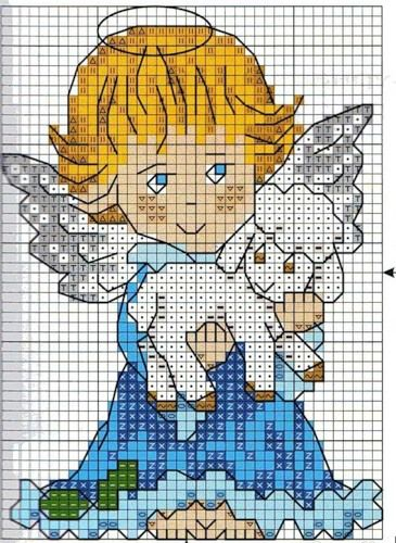 ANGEL BABY 1 (no color chart available, just use photo/pattern chart as your stitch/color guide... or choose your own colors)