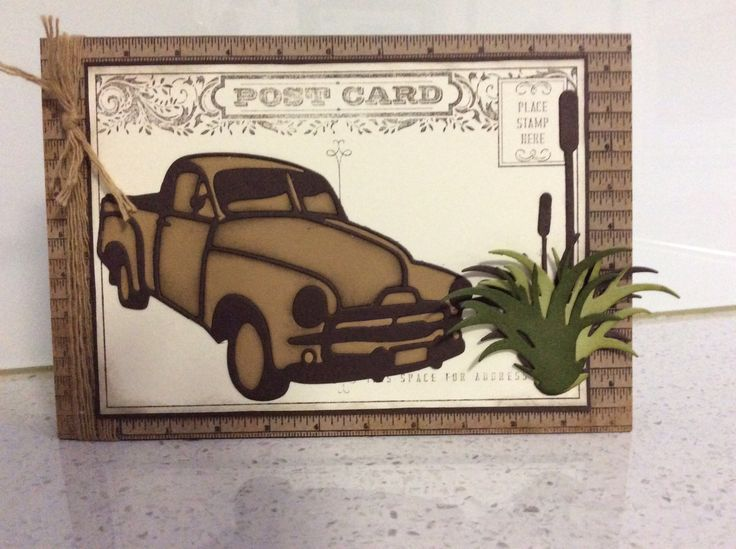 Male Birthday card using Australiana die cuts and Stampin up Post Card.