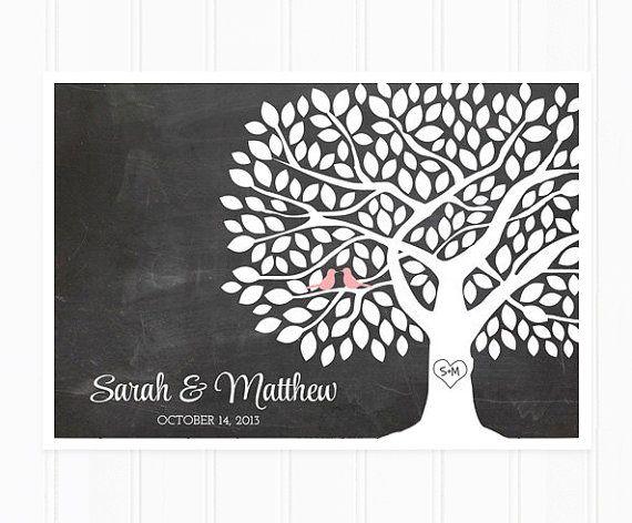 Gast boek boom - bruiloft-gastenboek alternatief met 175 bladeren - gast boek Poster op schoolbord achtergrond