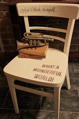 I Restore Stuff: Stencil saying on a chair..I like this idea