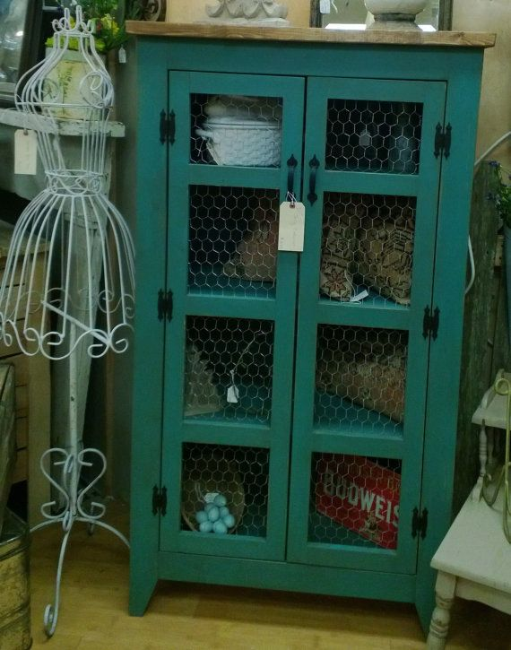 Teal Pie Safe Style Storage Cabinet Quilt Or Linen