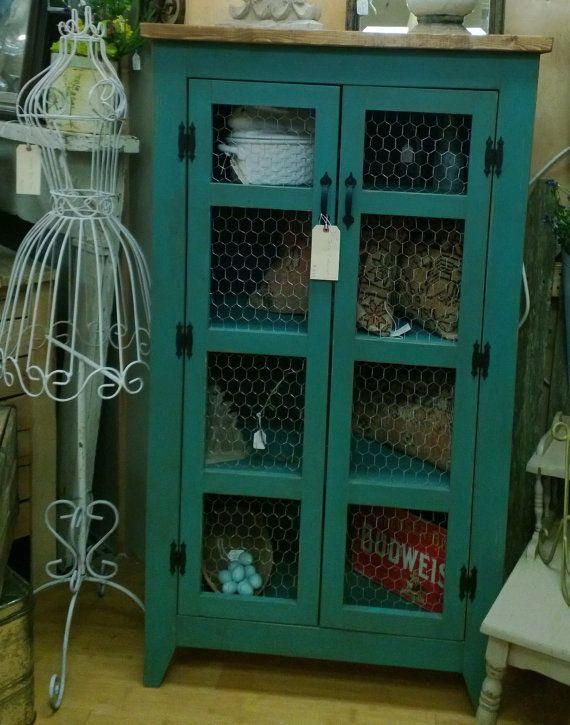 Teal Pie Safe Style Storage Cabinet / Quilt or Linen Storage / Kitchen Cupboard with Chicken Wire