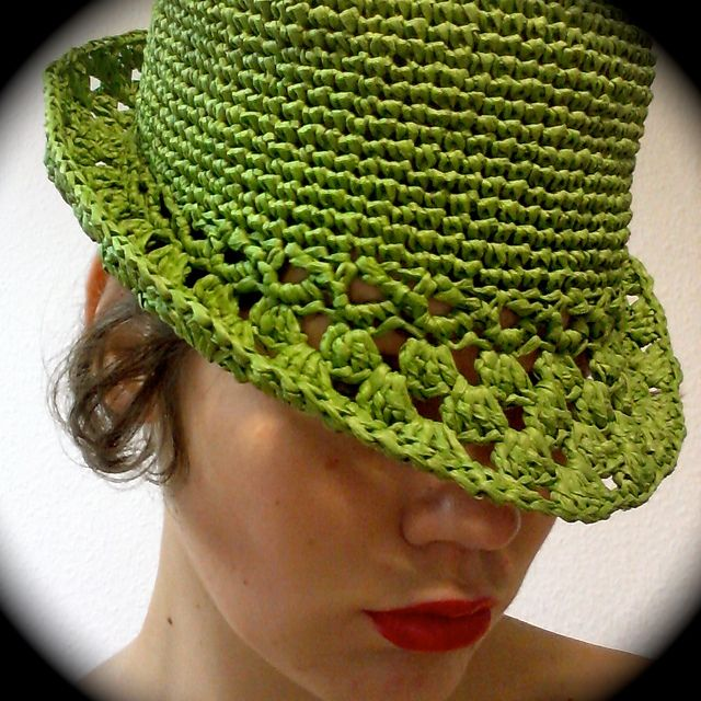 Ravelry: Crochet Hat from Raffia/Paper Yarn ~ Designer Britta Kremke has made her pattern available for FREE (Thanks Britta) ~ I love this classy hat -- it's got attitude, just the right amount!  ;)