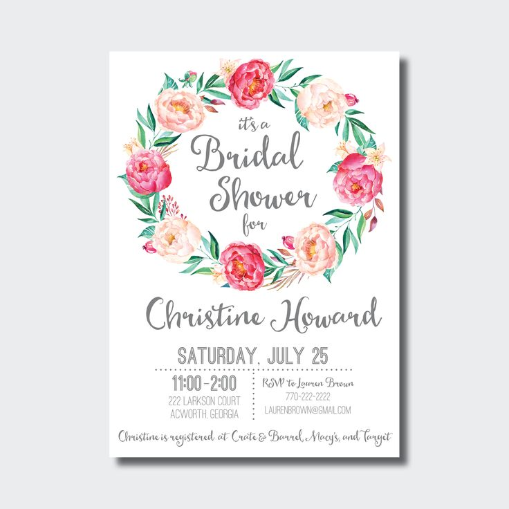 Bridal Shower Invitation, could also be used for a Baby Shower! Perfect for the boho bride