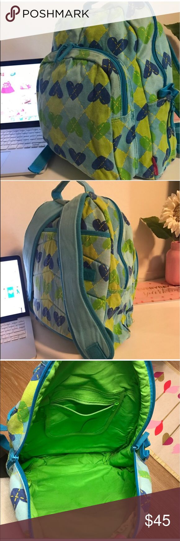 AGATHA RUIZ DE LA PRADA HEARTS BACKPACK PRICE FIRM. Beautiful soft jean fabric, designer from Spain (Agatha Ruiz de la Prada), excellent used condition. Adjustable straps, padded back and straps. Can be used to stack on a suit case. Pocket in front and on the side. Jean fabric super sturdy. Color: blue and green. 💗Condition: EUC, No flaws, no rips, holes or stains 💗Smoke free home 💗No trades, No returns 💗Shipping next day 💗All transactions video recorded to ensure quality.  💗Ask all…