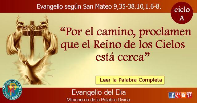 MISIONEROS DE LA PALABRA DIVINA: EVANGELIO - SAN MATEO 9,35-38.10,1.6-8