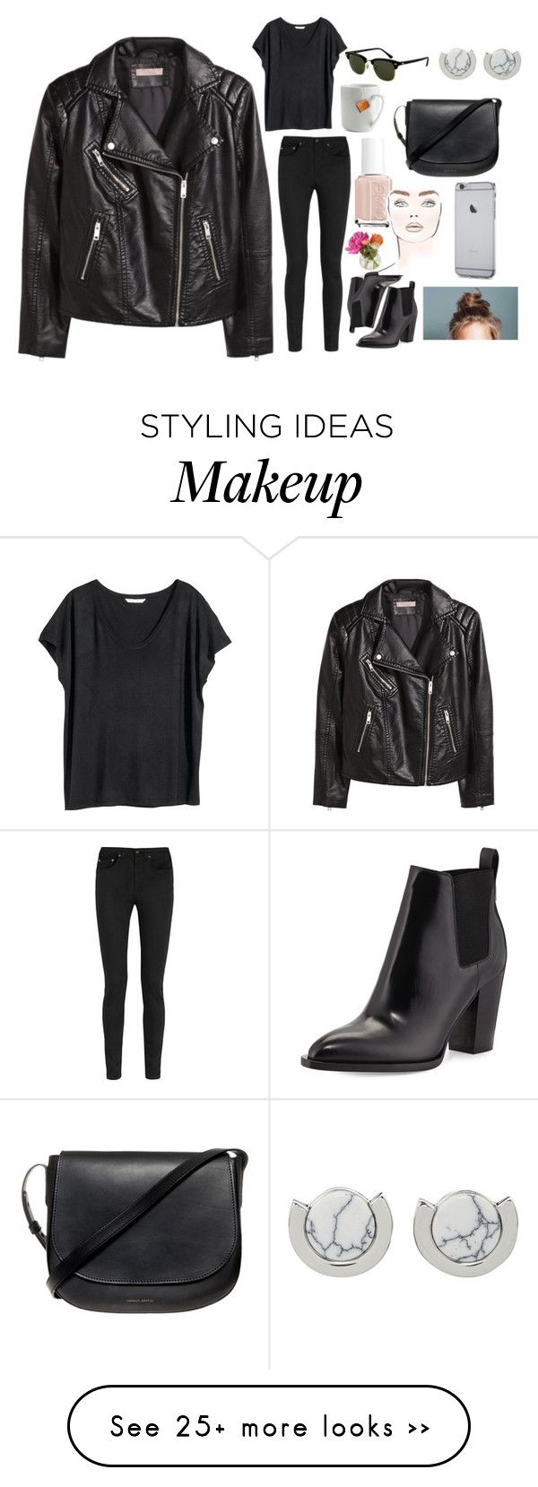 """""""You wear so much black"""" by barbtaeger on Polyvore featuring H&M, Yves Saint Laurent, Rayban, Vince, le mouton noir & co., Cultural Intrigue, Essie, Mansur Gavriel and Whistles"""