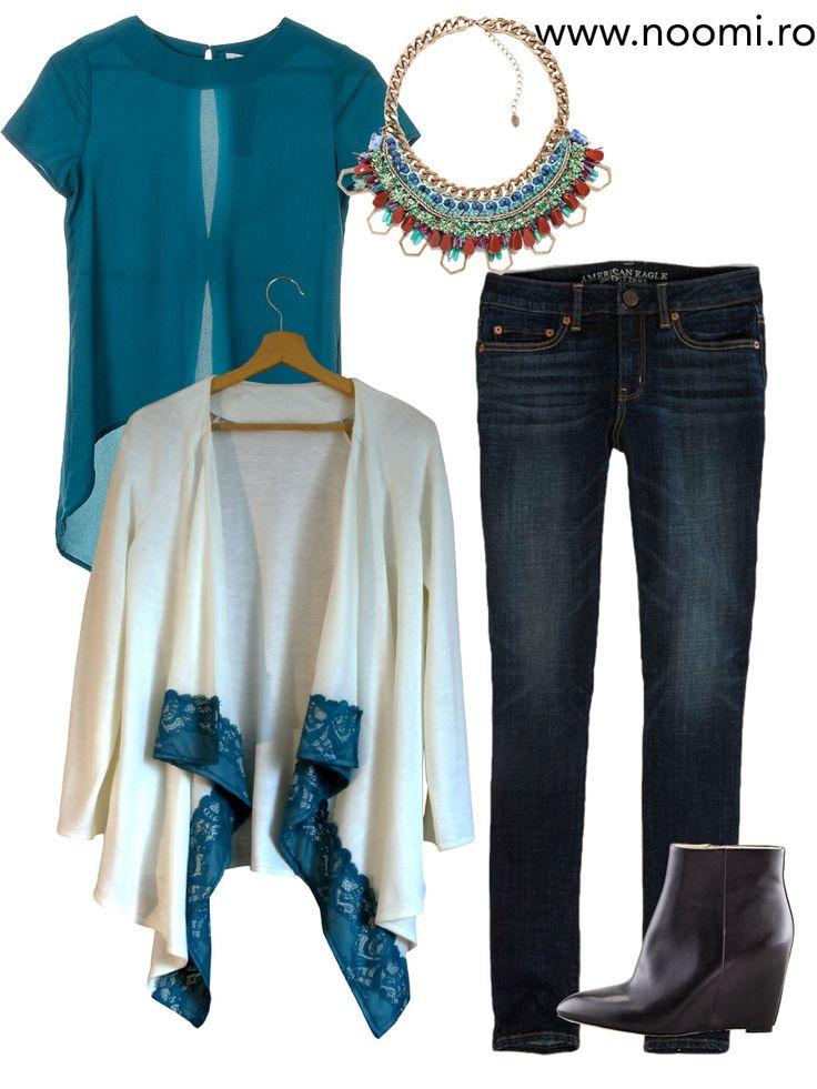 Tinuta de zi cu blazerul din jerse alb-lapte si bordura de dantela albastra, creat de Noomi. Chic si practic pentru birou.