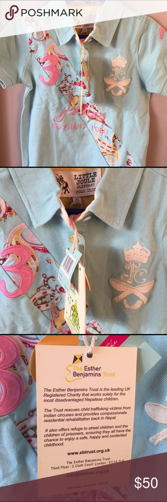 """NWT Little Joules Blue Girl's Top/Dress Sz. 6 💙 Length is 18"""". Armpit to armpit measures 13"""". Designed for the Esther Benjamin Trust helping Nepalese children. Pet free smoke free home. Little Joules Shirts & Tops Polos"""